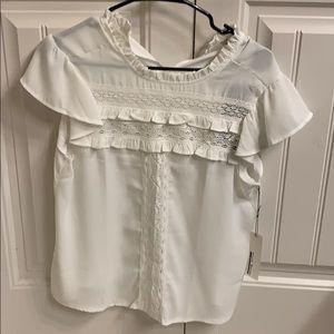 White blouse with crochet detail NWT medium